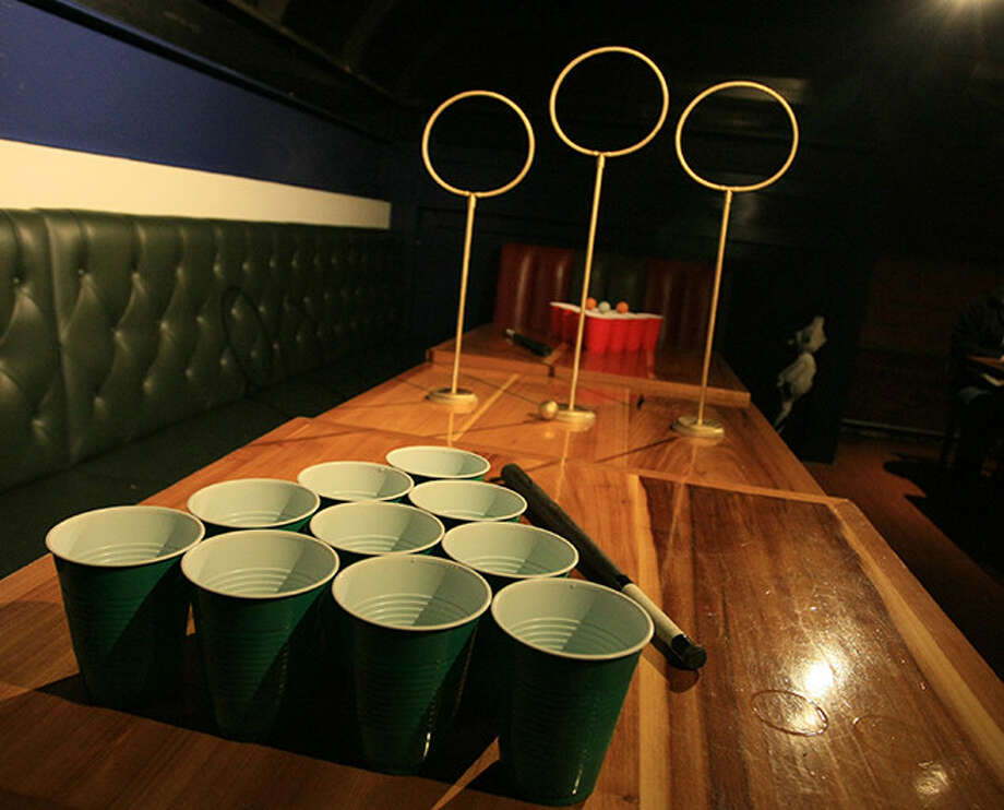 The table setup for Quidditch Pong. Photo: Unofficial Quidditch Pong