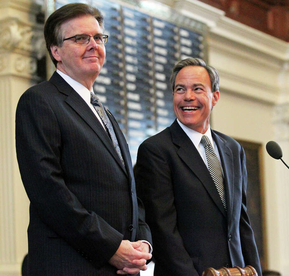 Lt. Gov. Dan Patrick and Speaker Joe Straus chat before Governor Greg Abbott delivers his State of the State address before a joint session of the Legislature held in the House of Representatives on February 17, 2015 Photo: Tom Reel, Staff / San Antonio Express-News / San Antonio Express-News