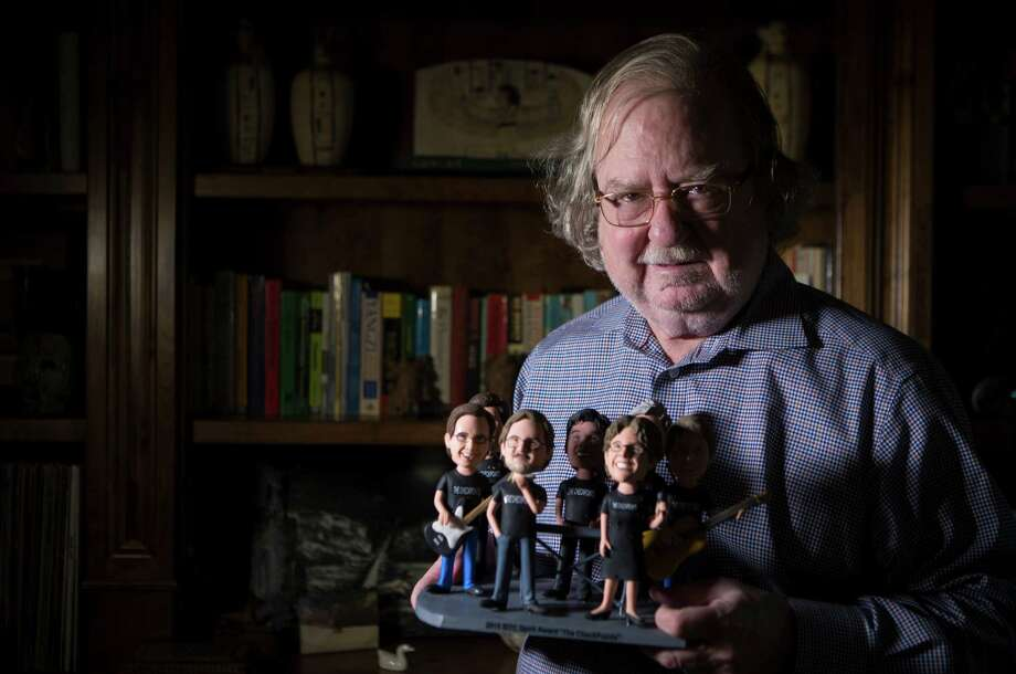 Dr. Jim Allison, who  won the 2015 Lasker-DeBakey Clinical Medical Research Award, was presented with bobble heads of his band, the Checkpoints, by the Society for Immunotherapy of Cancer. Photo: Marie D. De Jesus, Staff / © 2015 Houston Chronicle