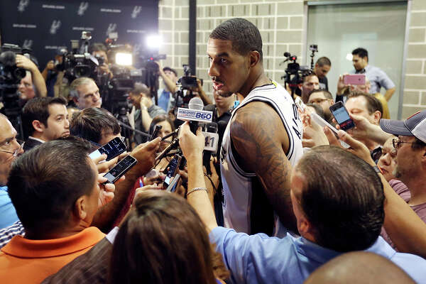 San Antonio Spurs' LaMarcus Aldridge is interviewed during media day Monday Sept. 28, 2015 at the Spurs practice facility.