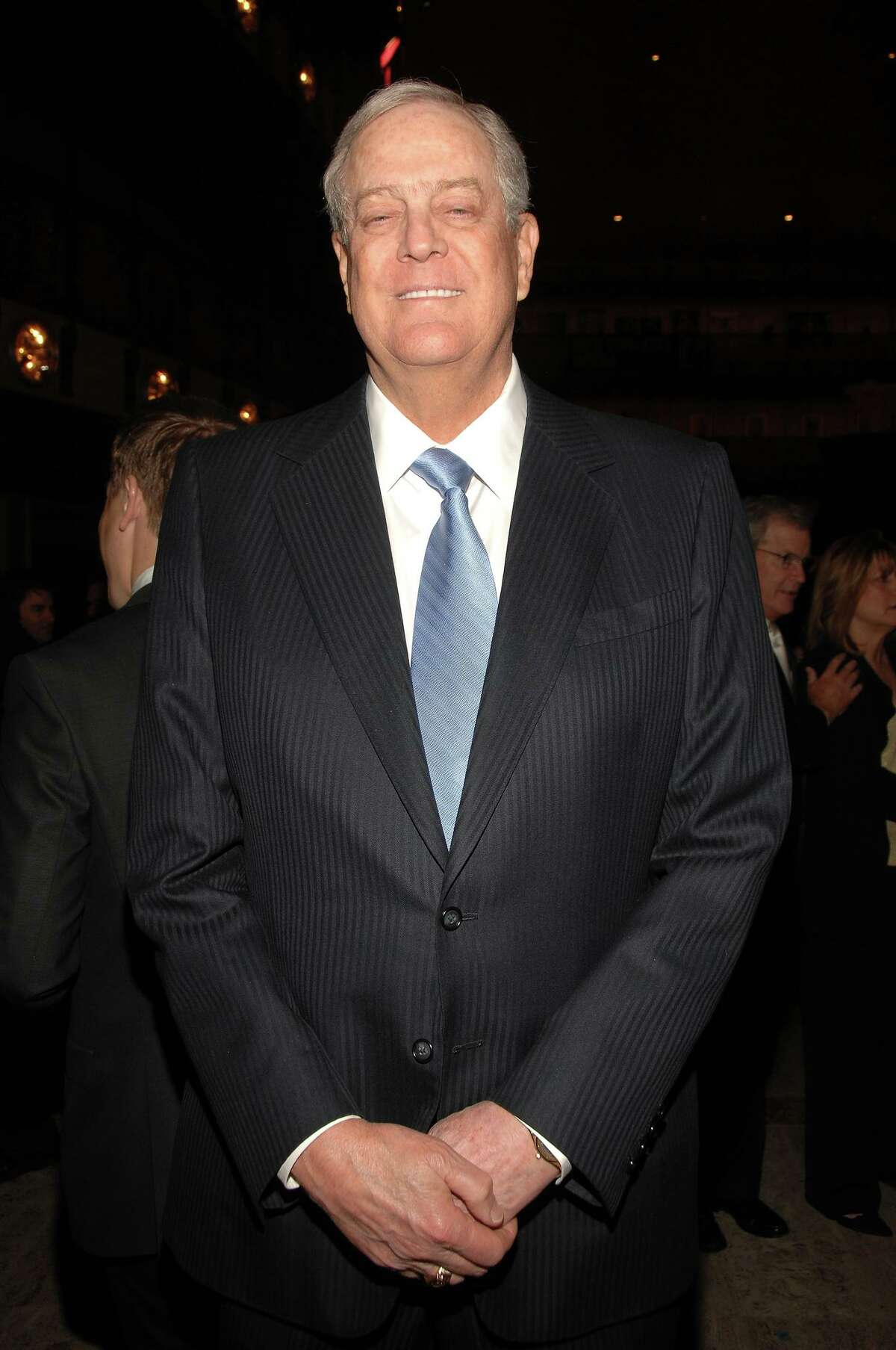 Billionaire oilman David Koch, major defender of the fossil fuel industry. Koch Industries has given $950,000 to the campaign against Initiative 1631, which would impose a carbon fee on most (but not all) major emitters of greenhouse gases in Washington.