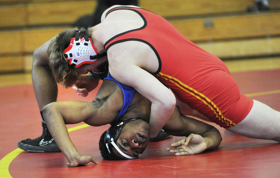 Stratford High's Tristan Frownfelter looks to pin Bunnell's Benny Nwaohuocha on his way to winning the 182 pound match during Stratford's 48-21 victory over Bunnell at Stratford High School in Stratford, Conn. on Wednesday, December 30, 2015. Photo: Brian A. Pounds / Hearst Connecticut Media / Connecticut Post