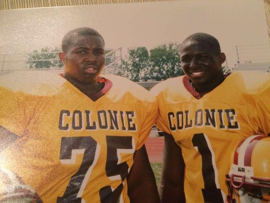 C.J. Harvey, left, and R.J. Harvey at Colonie High School. (Courtesy of Harvey family)