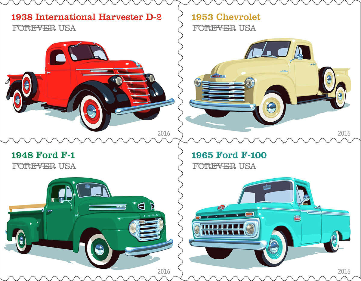 Pickup Trucks elebrating the rugged and reliable work vehicles that Americans have driven for nearly a century, each of these four new Forever stamps features on of the following iconic models: the 1938 International Harvester D-2; the 1953 Chevrolet; the 1948 Ford F-1; or the 1965 Ford F-100.(© Copyright 2016 USPS)