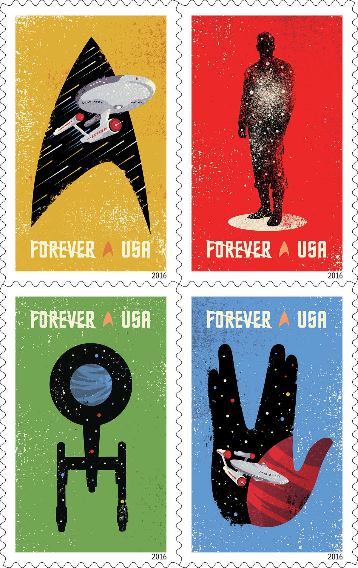 """U.S. Postal Service 2016 stamp designs Star Trek Celebrating the 50th anniversary of the television premiere, the new Star Trek Forever stamps showcase four digital illustrations inspired by classic elements of the television program: the Starship Enterprise inside the outline of a Starfleet insignia against a gold background; the silhouette of a crewman in a transporter against a red background; the silhouette of the Enterprise from above against a green background; and, the Enterprise inside the outline of the Vulcan statue (Spock's iconic hand gesture) against a blue background. The words """"SPACE... THE FINAL FRONTIER,"""" from Captain Kirk's famous voice-over appear beneath the stamps against a background of stars. The stamps were designed by Heads of State under the art direction of Antonio Alcalá.(© Copyright 2016 USPS)"""