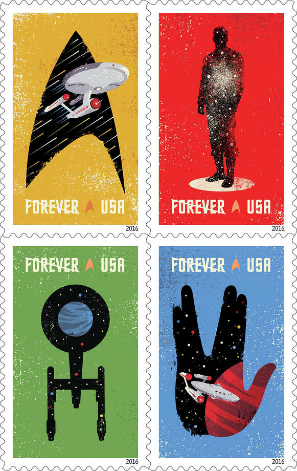 """U.S. Postal Service 2016 stamp designsStar TrekCelebrating the 50th anniversary of the television premiere, the new Star Trek Forever stamps showcase four digital illustrations inspired by classic elements of the television program: the Starship Enterprise inside the outline of a Starfleet insignia against a gold background; the silhouette of a crewman in a transporter against a red background; the silhouette of the Enterprise from above against a green background; and, the Enterprise inside the outline of the Vulcan statue (Spock's iconic hand gesture) against a blue background. The words """"SPACE… THE FINAL FRONTIER,"""" from Captain Kirk's famous voice-over appear beneath the stamps against a background of stars. The stamps were designed by Heads of State under the art direction of Antonio Alcalá.(© Copyright 2016 USPS) Photo: US Postal Service"""