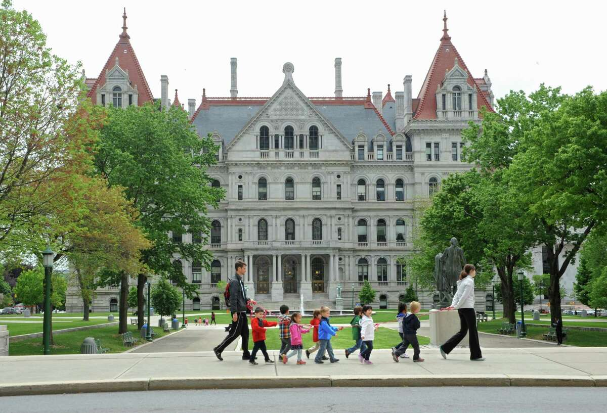 Pre-school children walk by the New York State Capitol on Thursday, May 21, 2015 in Albany, N.Y. (Lori Van Buren / Times Union)