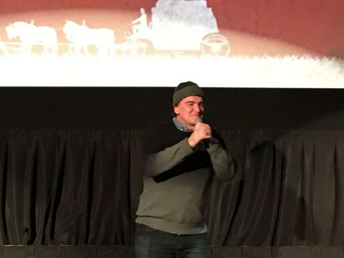 """An unsuspecting audience watching """"The Hateful Eight"""" at Austin's Alamo Drafthouse Ritz were surprised by a special feature - a chat with Quentin Tarantino after the film on Wednesday."""