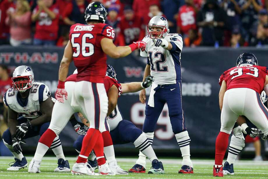 New England Patriots quarterback Tom Brady (12) calls a play during the second quarter of an NFL football game at NRG Stadium on Sunday, Dec. 13, 2015, in Houston Photo: Karen Warren, Staff / © 2015  Houston Chronicle