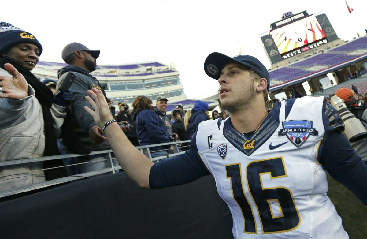 California quarterback Jared Goff (16) celebrates with fans after California defeated Air Force 55-36 in the Armed Forces Bowl NCAA college football game, Tuesday, Dec. 29, 2015, in Fort Worth, Texas. (AP Photo/Ron Jenkins)