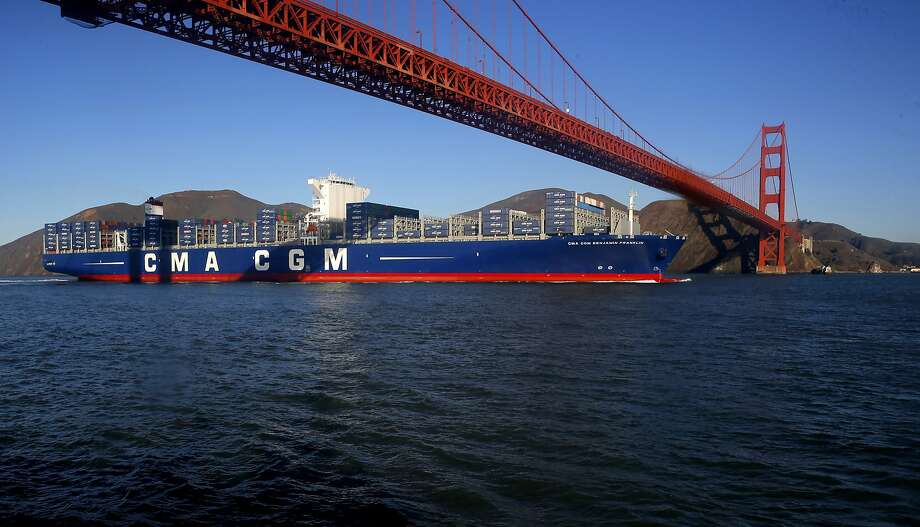 The CMA CGM Benjamin Franklin makes its way into San Francisco Bay on Dec. 31, 2015. Click through to see photos from inside the massive ship. Photo: Michael Macor, The Chronicle