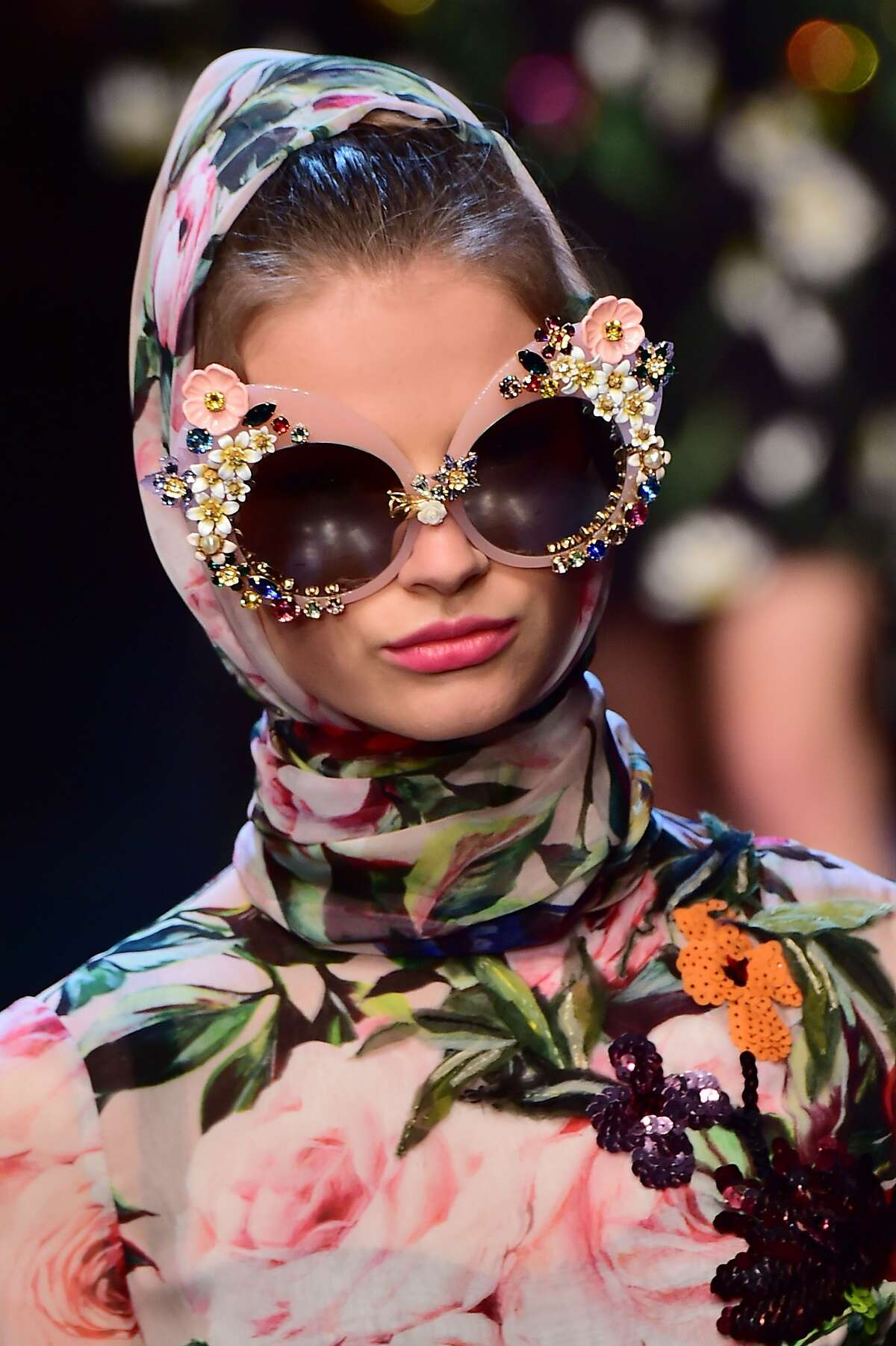A model presents a creation for fashion house Dolce Gabbana during the women Spring / Summer 2016 Milan's Fashion Week on September 27, 2015 in Milan. AFP PHOTO / GIUSEPPE CACACEGIUSEPPE CACACE/AFP/Getty Images