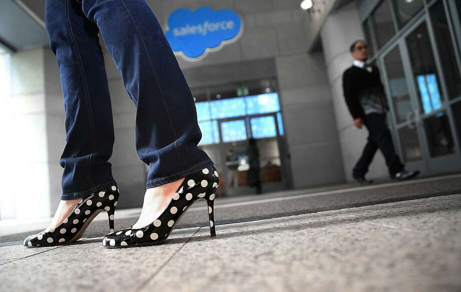 Vice President of product marketing Jamie Domenici leaves the Salesforce lobby. Many women face challenges because they are seen as being so different by male colleagues in the workplace. Photo: Liz Hafalia, The Chronicle