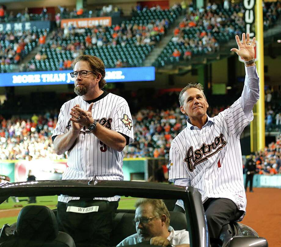 Astros legends Jeff Bagwell (left) and Craig Biggio will become teammates on an all-time squad Sunday when Bagwell is inducted into the National Baseball Hall of Fame.Click through the gallery to see Hall of Famers in baseball, basketball, pro football and hockey who played or coached in Houston. Photo: James Nielsen, Staff / © 2015  Houston Chronicle