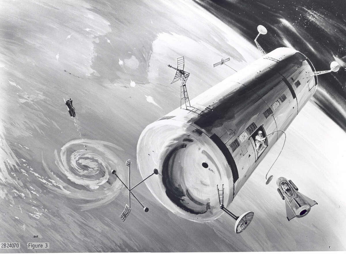 Wikipedia Commons: A 1960 concept image of the United States Air Force's proposed Manned Orbiting Laboratory (MOL) that was intended to test the military usefulness of having humans in orbit.
