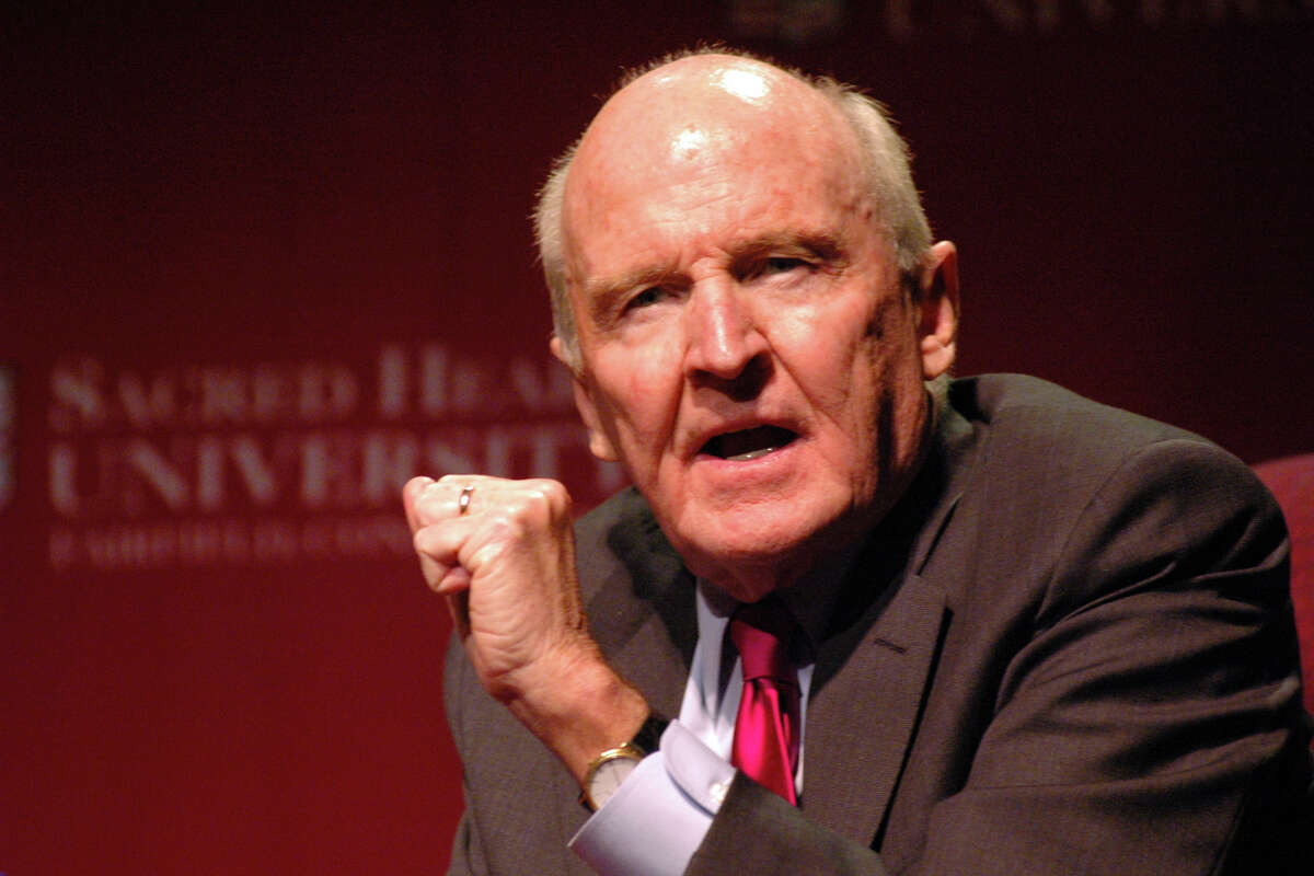 Former General Electric CEO Jack Welch speaks at Sacred Heart University in Fairfield in 2005. In 2006, Welch gave his name to SHU's college of business.