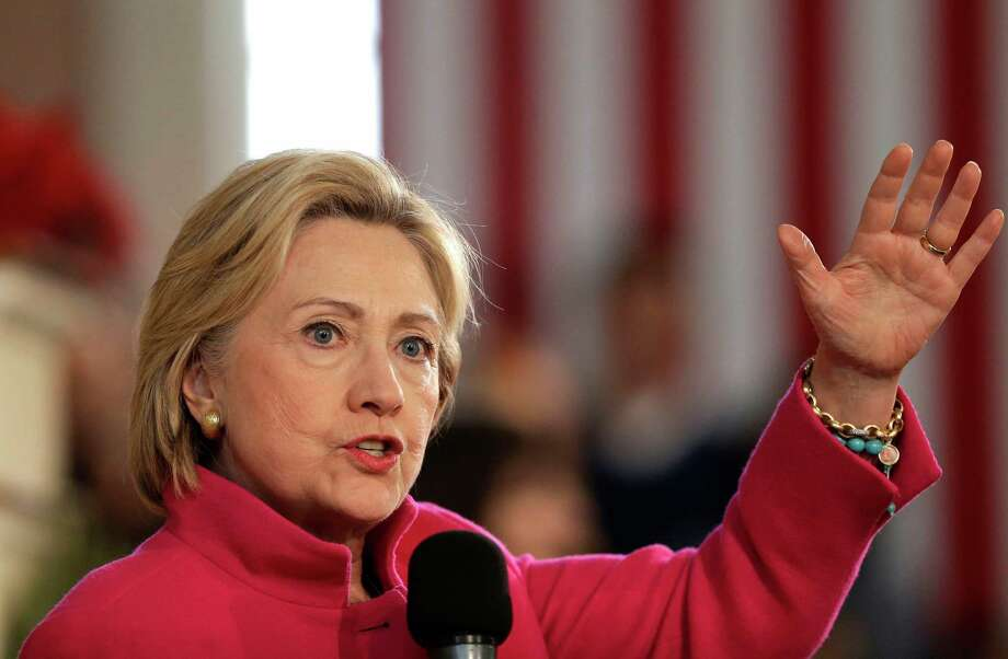 Democratic presidential candidate Hillary Clinton speaks during a campaign event, Tuesday, Dec. 29, 2015, at South Church in Portsmouth, N.H. (AP Photo/Steven Senne) Photo: Steven Senne, STF / AP