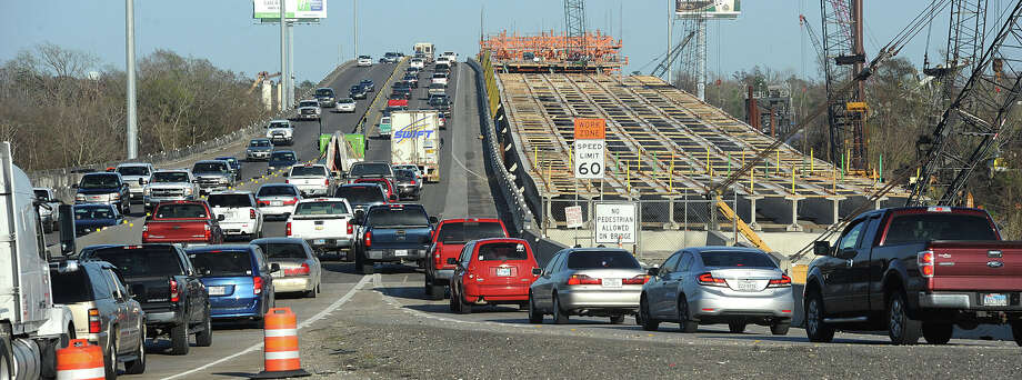 Motorists merge to cross the Neches River Thursday on the Purple Heart Bridge. Since construction began, the average number of accidents on Interstate 10 has increased by 18.