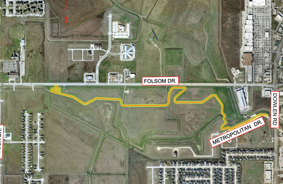 The city of Beaumont's new Hike and Bike Trail, extending from Major Drive to Dowlen Road, follows a course on the south side of Foslom Road. A ditch for runoff from the 1.4-long trail must be completed before the city officially opens it, probably in late January. Image provided by the City of Beaumont