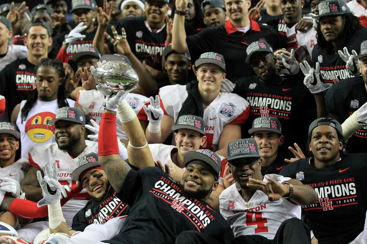 University of Houston players earned the right to celebrate after their 38-24 win over Florida State in the Peach Bowl on Thursday.