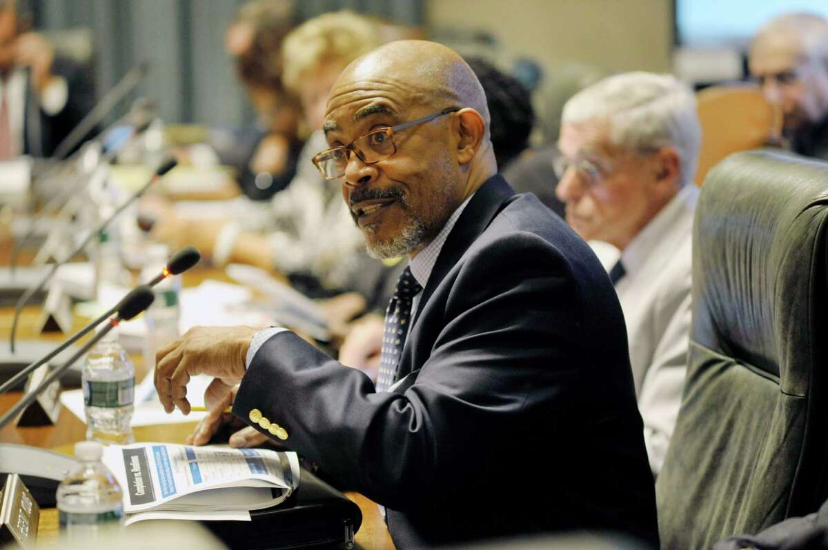 New York State Board of Regents member Lester Young, Jr. was chosen Monday as the board's next chancellor. In this photograph, Young addresses those gathered during a Regents meeting on July 20, 2015. (Paul Buckowski / Times Union)