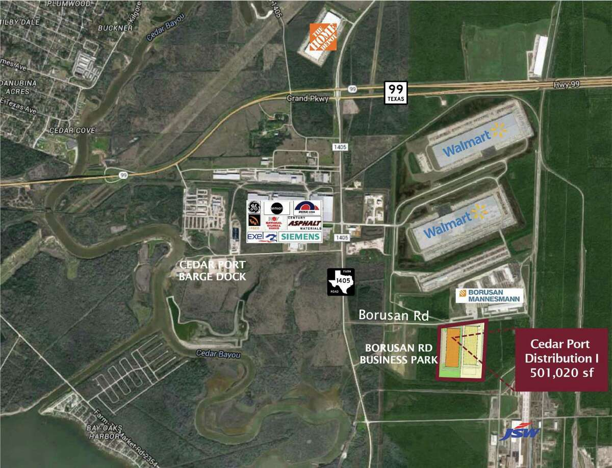 Clay Development & Construction has purchased nearly 80 acres on Borusan Road and FM 1405 in the Cedar Port Industrial Park in Baytown to develop Cedar Port Distribution Park. Three rail-served, dock-high distribution facilities containing 1.5 million square feet will be built on the site.
