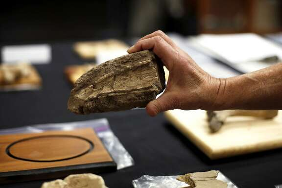 Joyce Blueford holds a fossilized horse bone at the Children's Natural History Museum in Fremont, California, on Thursday, Dec. 31, 2015.