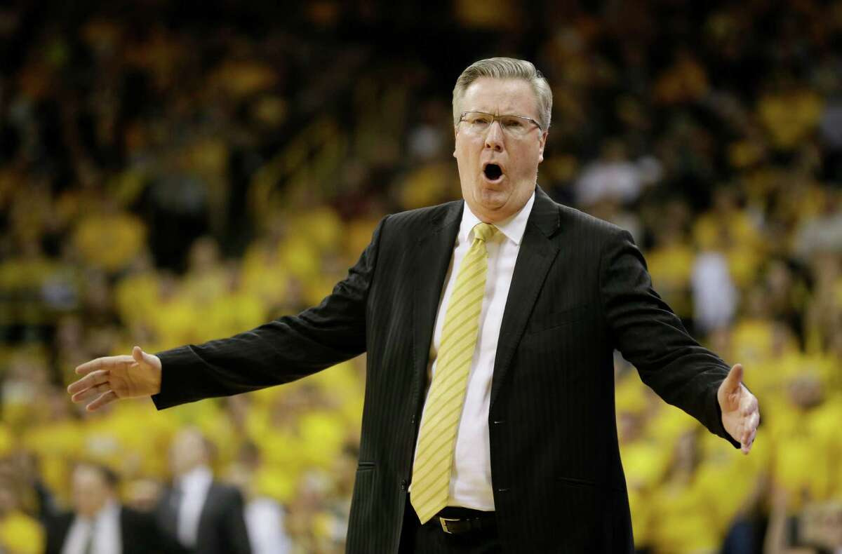 Iowa head coach Fran McCaffery reacts to a call during the first half of an NCAA college basketball game against Michigan State, Tuesday, Dec. 29, 2015, in Iowa City, Iowa. (AP Photo/Charlie Neibergall) ORG XMIT: IACN105