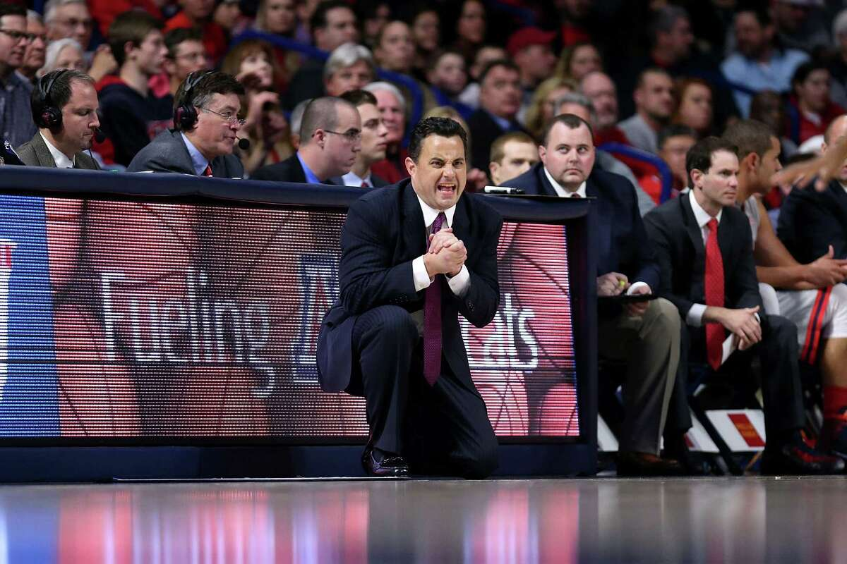 TUCSON, AZ - DECEMBER 22: Head coach Sean Miller of the Arizona Wildcats yells during the first half of the college basketball game at McKale Center on December 22, 2015 in Tucson, Arizona. The Arizona Wildcats beat the Long Beach State 49ers 85-70. (Photo by Chris Coduto/Getty Images)