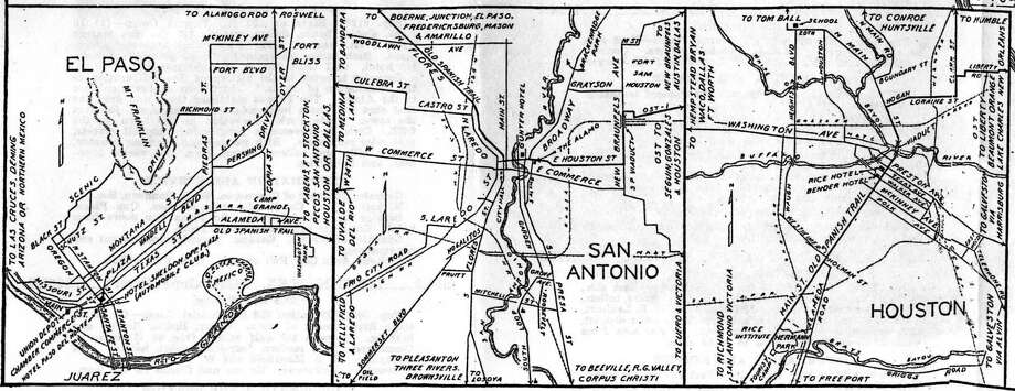 inset detail map of the Old Spanish Trail through El Paso, San Antonio and Houston. Photo: Old Spanish Trail Centennial Cel / Old Spanish Trail Centennial Cel
