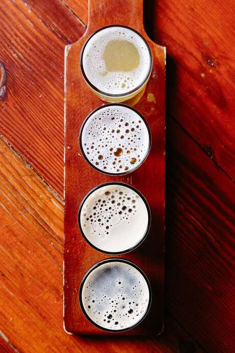 A variety of brews such as the gluten free IPA, King Mate, Harvest Ale and Nubula at Bang the Drum Brewery in San Luis Obispo, Calif., Tuesday, December 23, 2015. Photo: Jason Henry, Special To The Chronicle