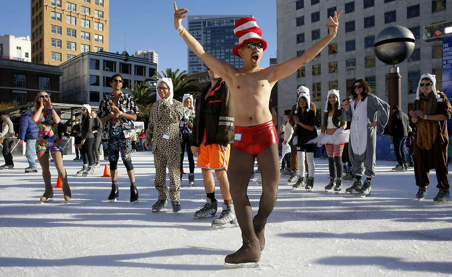 Ian Catindig reacts after taking the second place prize in the 2016 Polar Bear Skate contest on the Holiday Ice Rink in Union Square on Friday January 1, 2016, in San Francisco, Calif. Photo: Michael Macor, The Chronicle