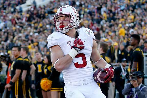 PASADENA, CA - JANUARY 01:  Christian McCaffrey #5 of the Stanford Cardinal reacts after a run in the 102nd Rose Bowl Game against the Iowa Hawkeyes on January 1, 2016 at the Rose Bowl in Pasadena, California.  (Photo by Sean M. Haffey/Getty Images)