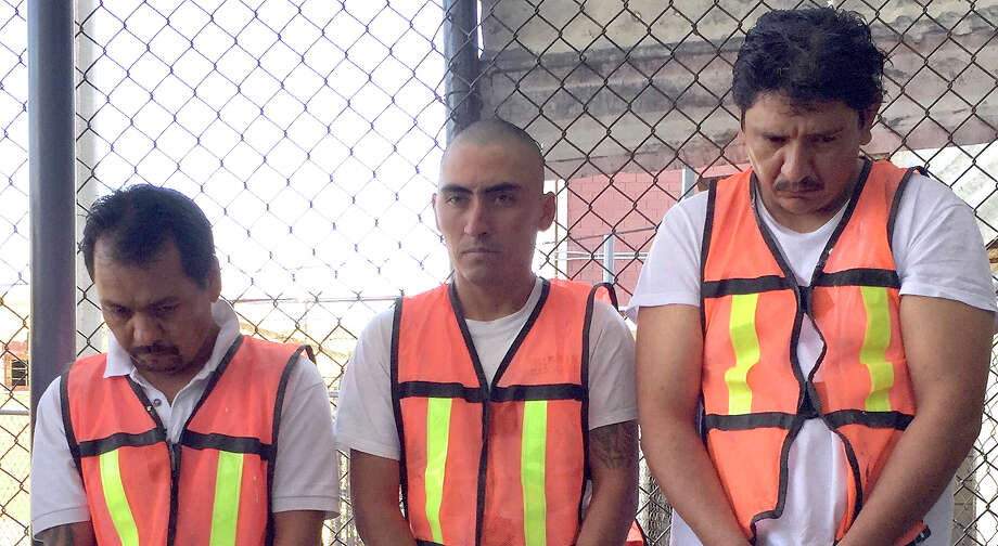 "Carlos Enrique ""La Chiva"" Flores Rodríguez (from left), Juan Enrique ""Sirena"" Peña Zapata and Ernesto ""El Pollo"" Juantos Vázquez are charged in three killings in Piedras Negras, Mexico. Photo: Courtesy Photo / COURTESY OF THE STATE OF COAHUILA MEXICO"
