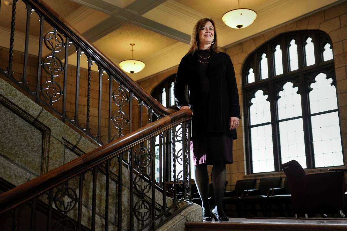 Alicia Ouellette, the dean of Albany Law School, stands on a stairwell at the school on Thursday, Dec. 17, 2015, in Albany, N.Y. (Paul Buckowski / Times Union)