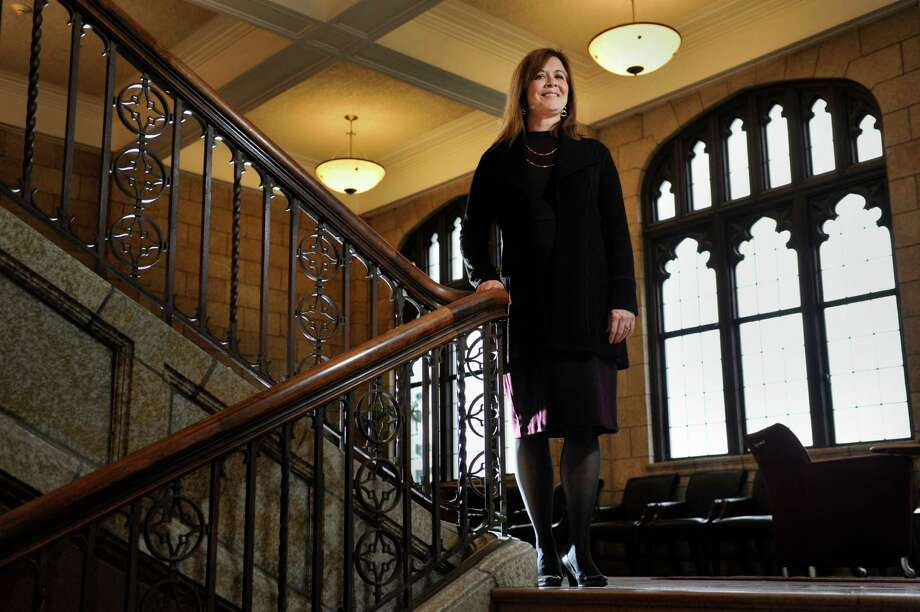 Alicia Ouellette, the dean of Albany Law School, stands on a stairwell at the school on Thursday, Dec. 17, 2015, in Albany, N.Y.  (Paul Buckowski / Times Union) Photo: PAUL BUCKOWSKI / 10034665A