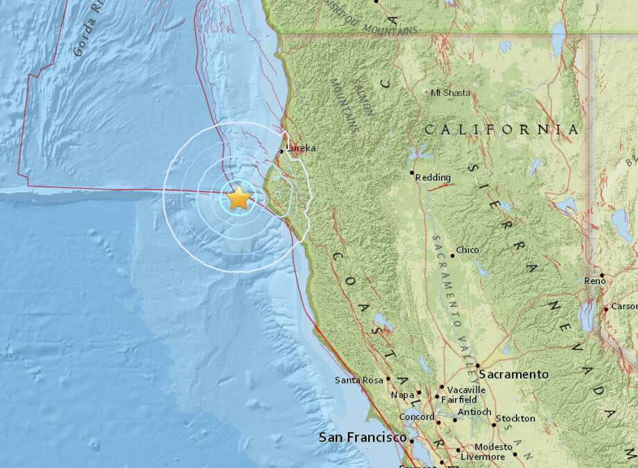 An earthquake with preliminary magnitude of 4.3 struck off the California coast on Friday, Jan. 1, 2016, according to the U.S. Geological Survey. Photo: USGS