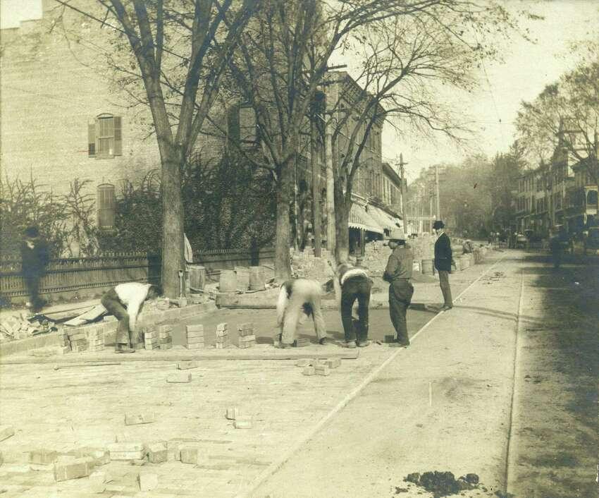 Paving Greenwich Avenue in 1900.