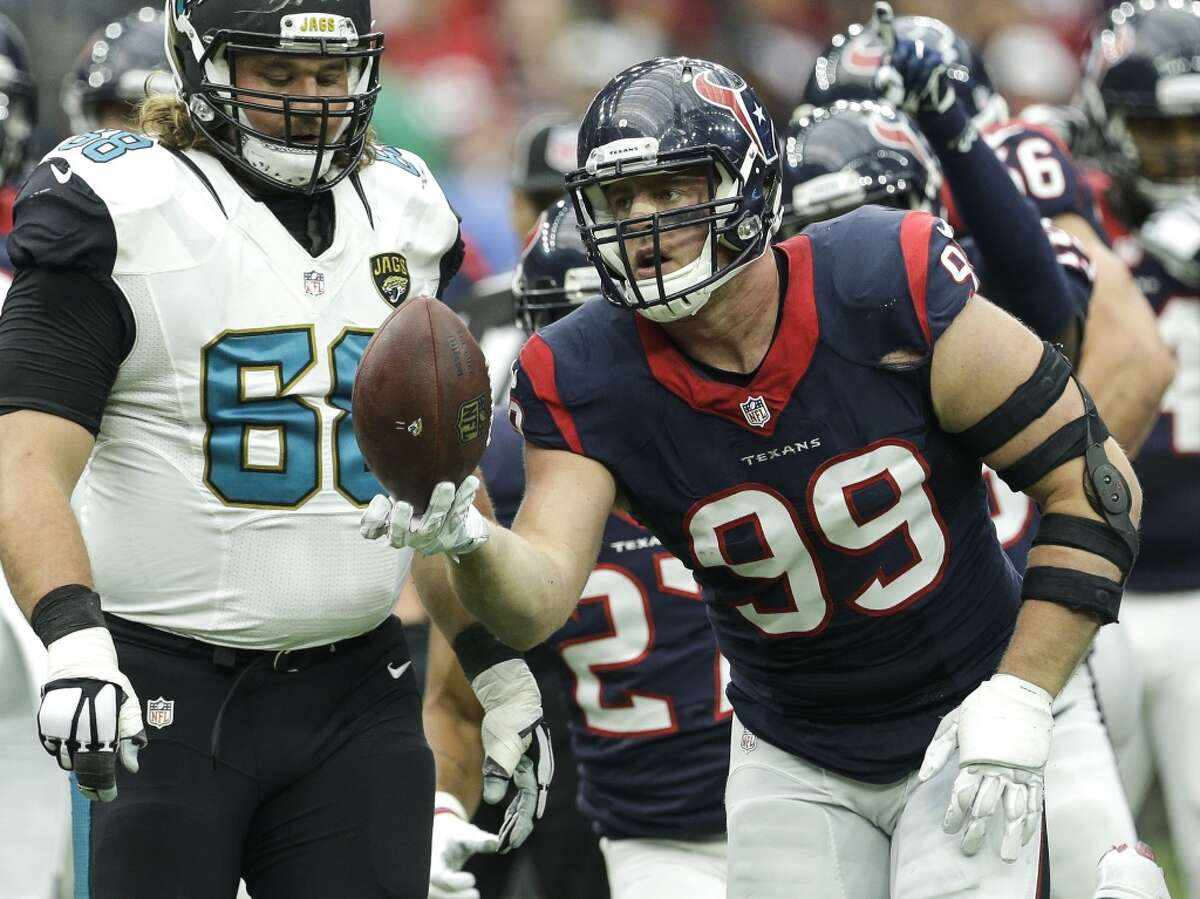 No. 3 Jan. 3, 2016: 30-6 win over Jacksonville In the game that officially clinched the AFC South title for the Texans, Watt had three sacks, eight tackles and a forced fumble and recovery.