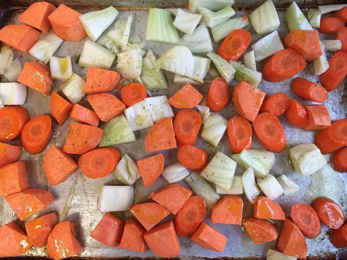 Prepped vegetables for roasting