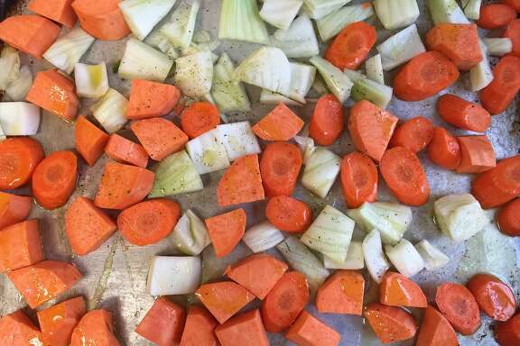 Prepped vegetables for roasting
