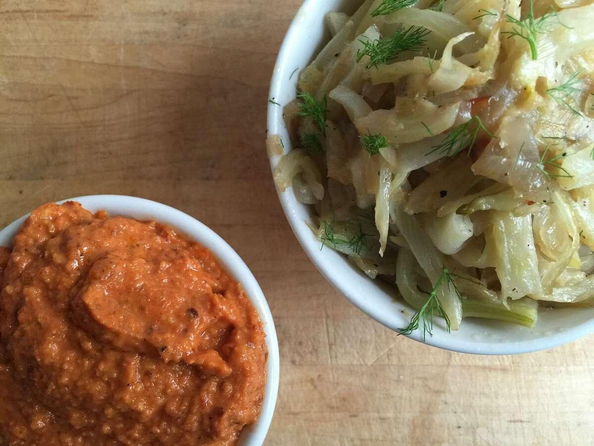 Easy romesco sauce (left), fennel-shallot jam (right)