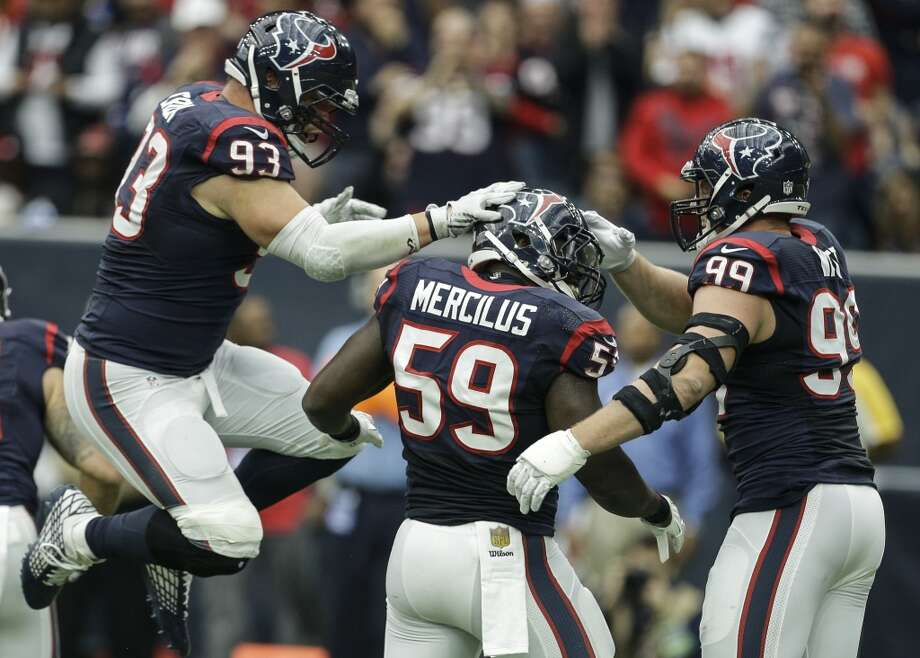 The Texans are looking to see a whole lot more of J.J. Watt (right) and Whitney Mercilus on the field together this fall. Injuries have kept them from playing together much the past two seasons. Photo: Houston Chronicle