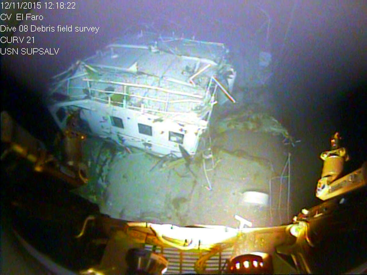 In this photograph released by the National Transportation Safety Board on Sunday, Jan. 3, 2016, the detached navigation bridge of the sunken freighter El Faro is seen on the seafloor, 15,000-feet deep near the Bahamas. The freighter sunk on Oct. 1, 2015, after losing engine power and getting caught in a Category 4 hurricane. All 33 crew members aboard were lost at sea. Federal investigators are considering launching another search of the wreckage of a freighter.