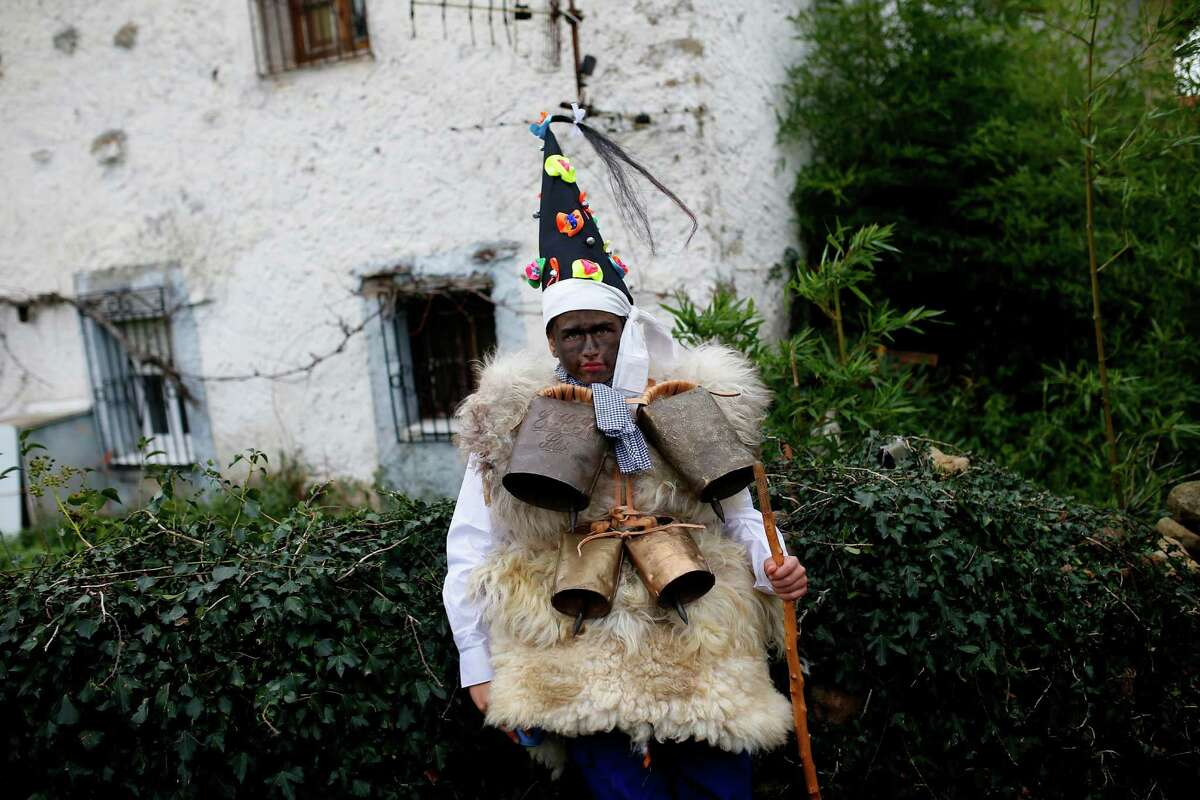 A man dressed in sheepskins with jingling bells to make noise, and so called