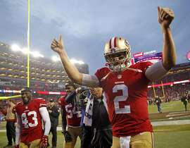 San Francisco 49ers' Blaine Gabbert leaves the field after Niners' 19-16 win in overtime over St. Louis Rams in NFL game at Levi's Stadium in Santa Clara, Calif., on Sunday, January 3, 2016.