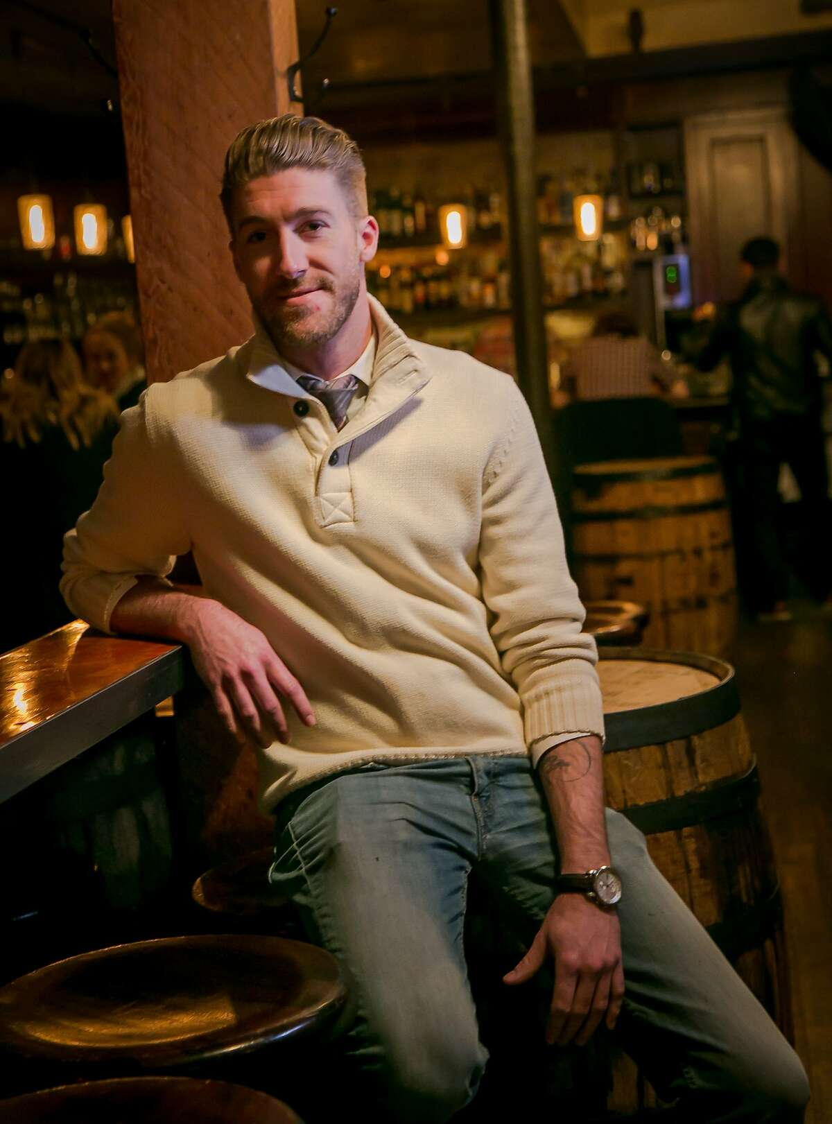 Bar Manager Ian Adams at 15 Romolo in San Francisco, Calif., is seen on January 2nd, 2016.