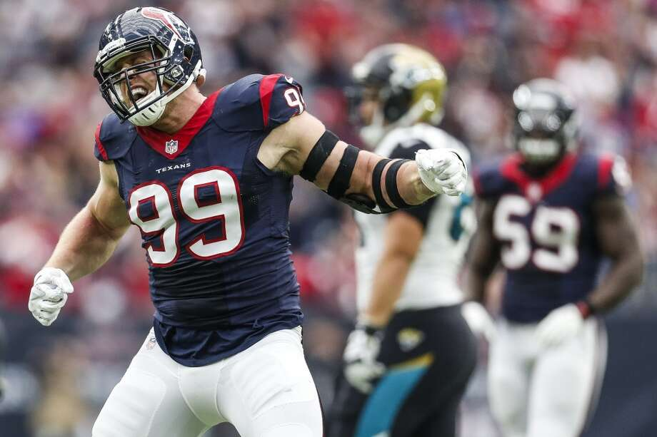 Houston Texans defensive end J.J. Watt (99) celebrates after making a sack on third down during the first quarter of an NFL football game at NRG Stadium on Sunday, Jan. 3, 2016, in Houston.  ( Karen Warren / Houston Chronicle ) Photo: Karen Warren, Houston Chronicle