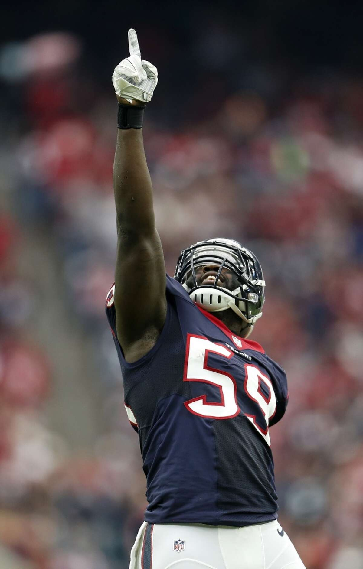 Houston Texans outside linebacker Whitney Mercilus (59) after his sack brought up a fourth down during the first quarter of an NFL football game at NRG Stadium on Sunday, Jan. 3, 2016, in Houston. ( Karen Warren / Houston Chronicle )