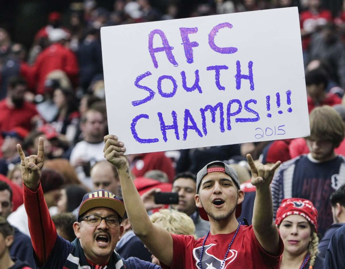Houston Texans fans cheer after the Texans beat the Jacksonville Jaguars 30-6 to win the AFC South title at NRG Stadium on Sunday, Jan. 3, 2016, in Houston. ( Brett Coomer / Houston Chronicle )